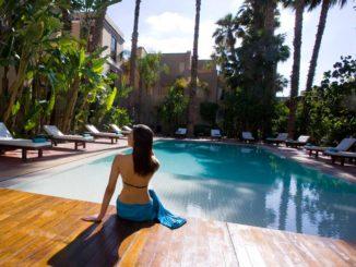 Piscine chauffée Marrakech, centre ville, Jardins de la Médina, accessible à pied